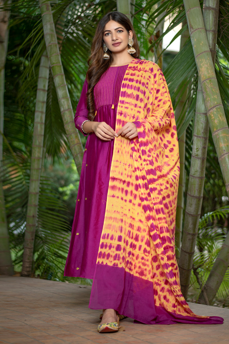 Burgundy Pintucks Kurta Set with Dupatta (Set of 3)