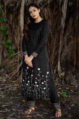 Charcoal Bahaar Embroidered Kurta Set with Dupatta (Set of 3)