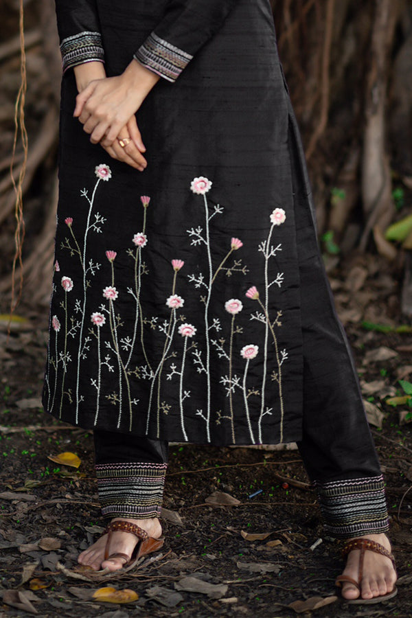 Charcoal Raw Silk Embroidered Kurta