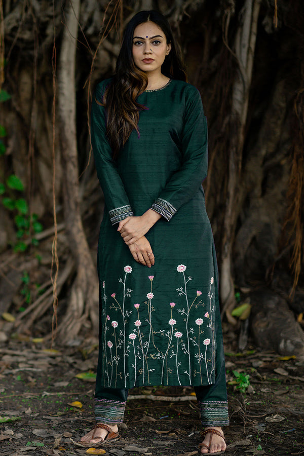 Chrome Raw Silk Bahaar Embroidered Kurta