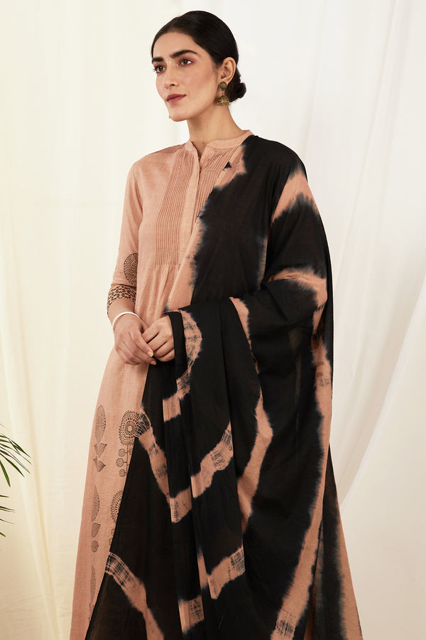 Burnt Pink-Black Leheriya Mulmul Dupatta