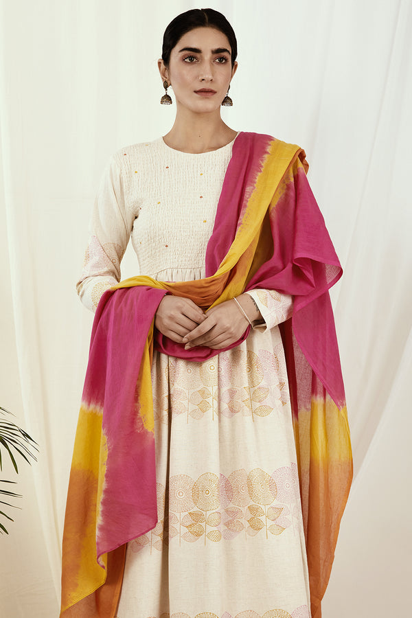 Pink-Orange-Mustard Shaded Mulmul Dupatta
