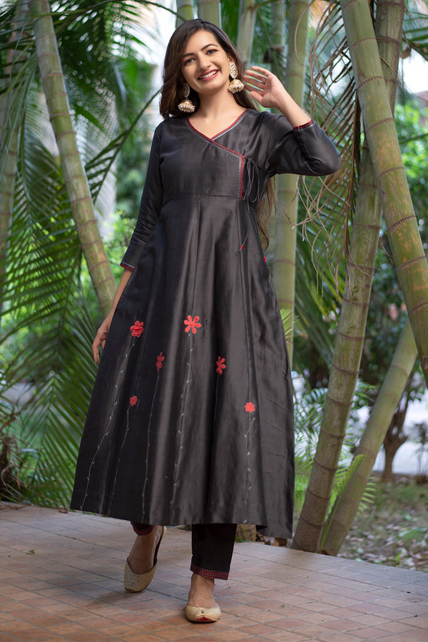 Grey Applique Embroidered Angrakha