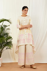 Ivory Asymmetrical Kurta Set with Dupatta (Set of 3)