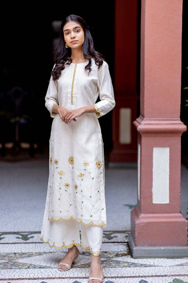 Ivory Gold Embroidered Kurta & Palazzo (Set of 2)