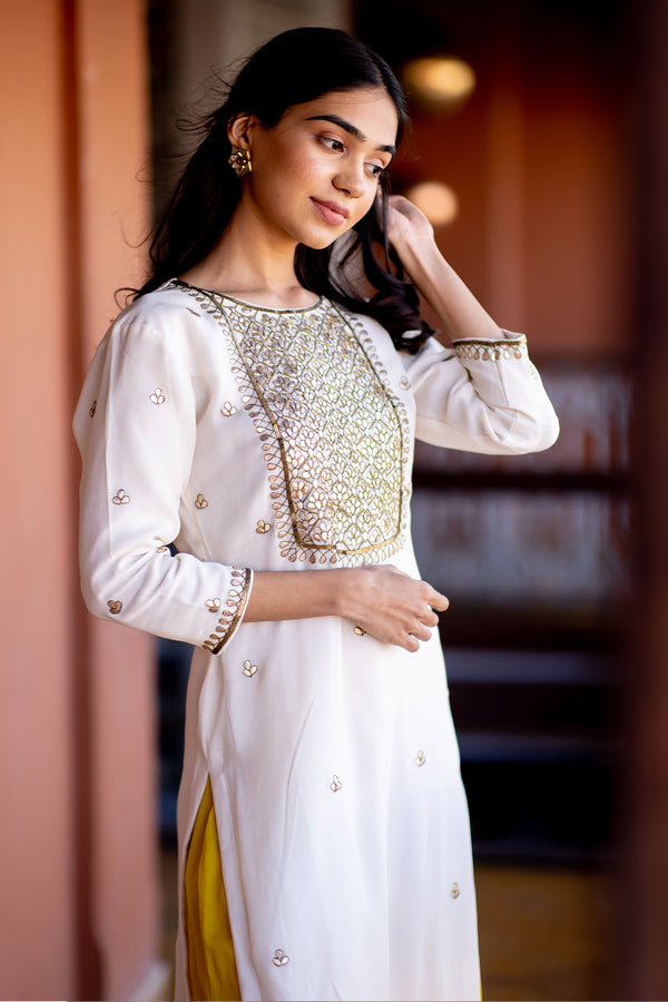 Chandi Gota Embroidered Georgette Kurta