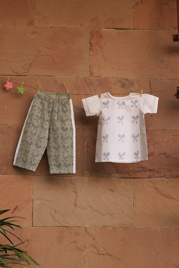 White-Grey Printed Shirt with Pant (Set of 2)