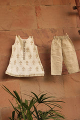Ivory-Gold Printed Kurta with Pant (Set of 2)