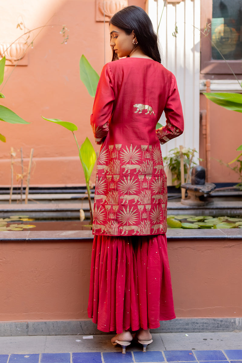 Afroz Red Tropical Printed Short Kurta