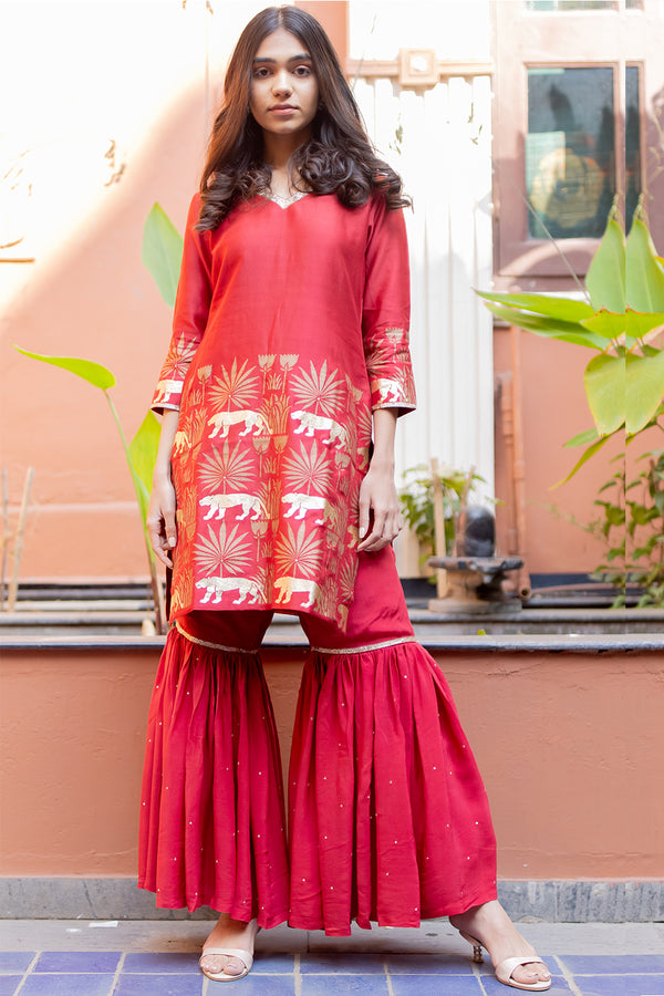 Afroz Red Tropical Printed Kurta Sharara Set with Dupatta (Set of 3)