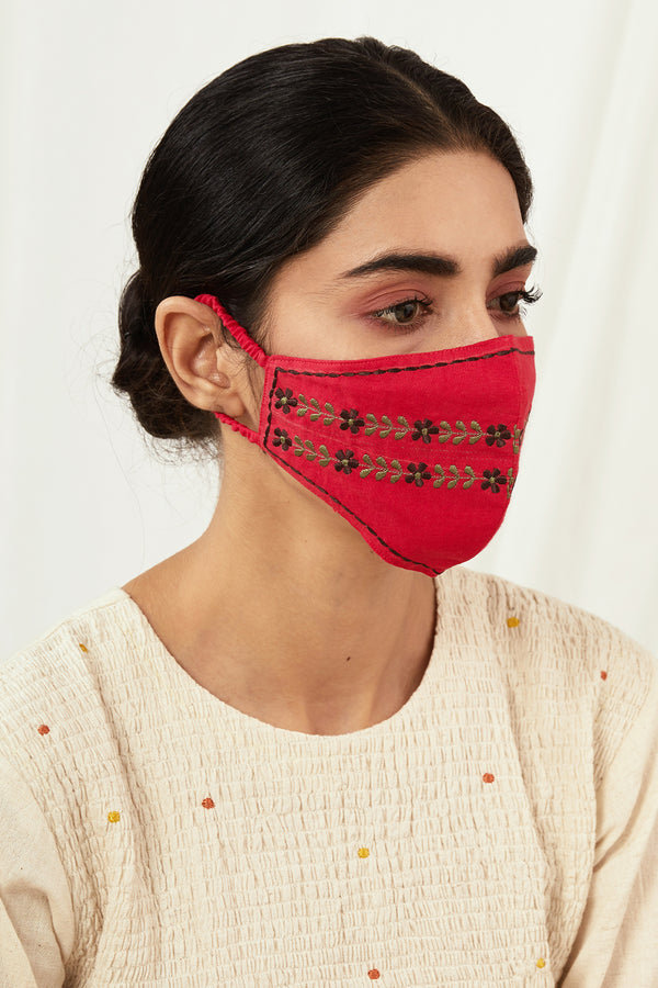 Cobalt & Red Embroidered Masks (Set of 2)