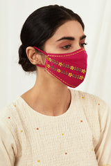 Firozi & Fuschia Embroidered Masks (Set of 2)