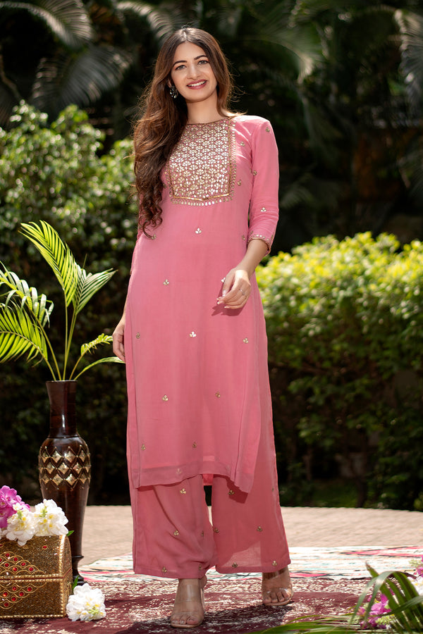 Mula Gota Embroidered Georgette Kurta
