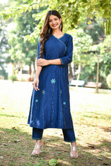 Navy Blue Applique Embroidered Angarkha