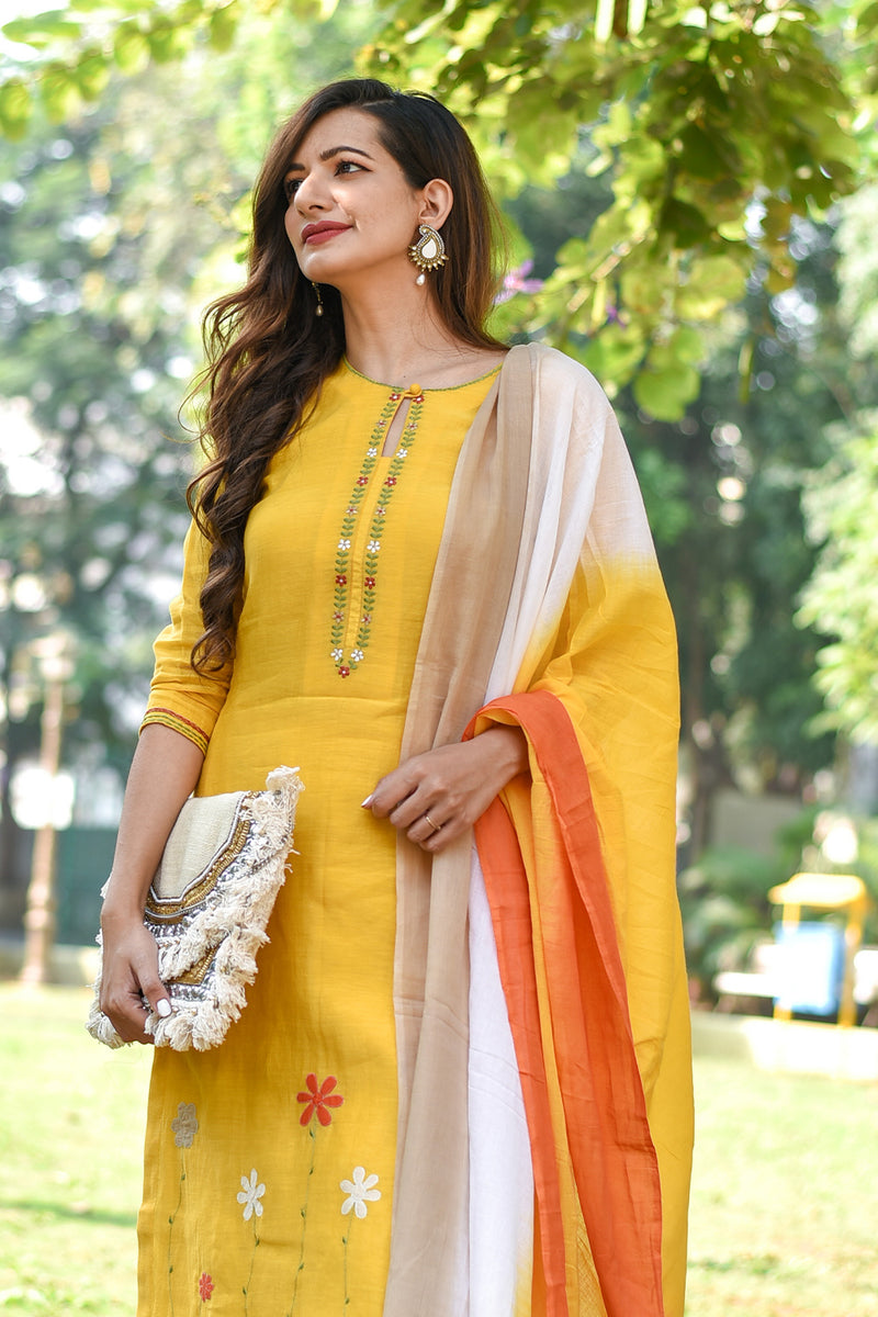 Orange-Mustard-Beige Shaded Mulmul Dupatta