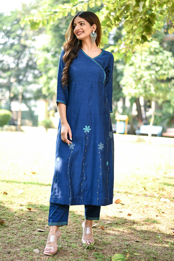 Navy Blue Floral Embroidered Angarkha & Pant (Set of 2)