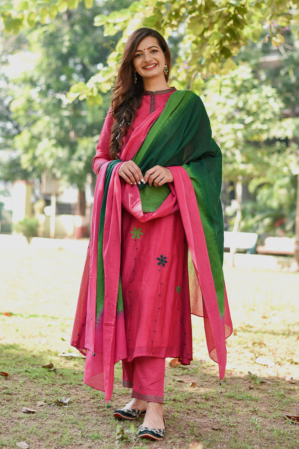 Pink-Green Shaded Mulmul Dupatta