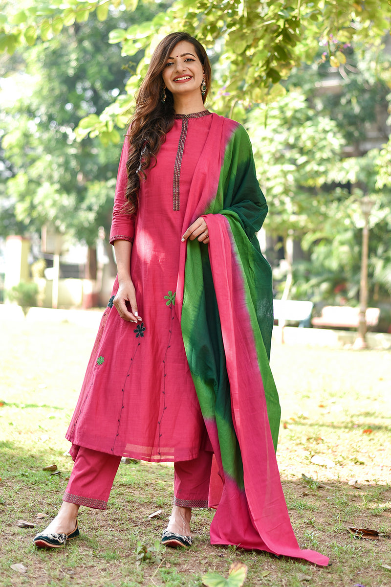 Coral Pink Applique Embroidered Kurta