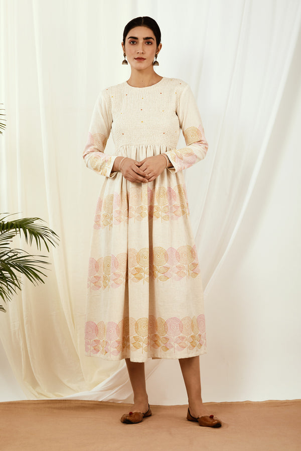 Ivory Gathered Anarkali Cotton Dress