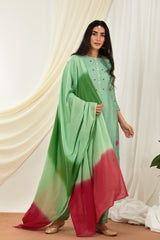 Teal-Red Shaded Mulmul Dupatta