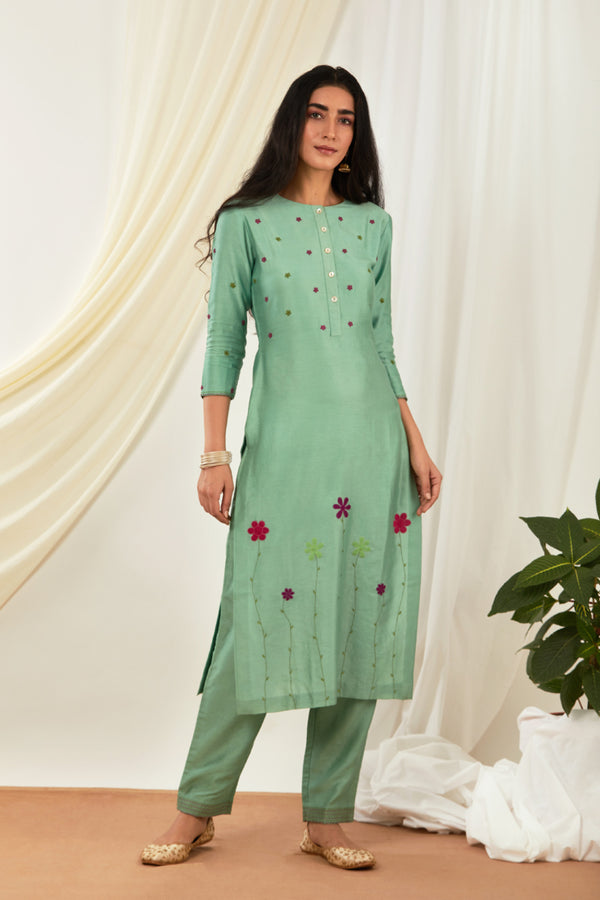 Teal Floral Embroidered Kurta Set with Dupatta (Set of 3)