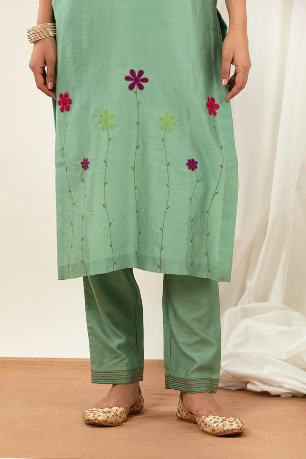 Teal Green Embroidered Cotton Pant