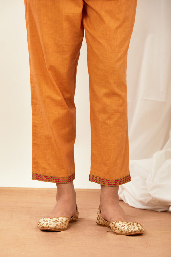 Orange Embroidered Cotton Pant