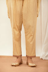Cream Embroidered Cotton Pant