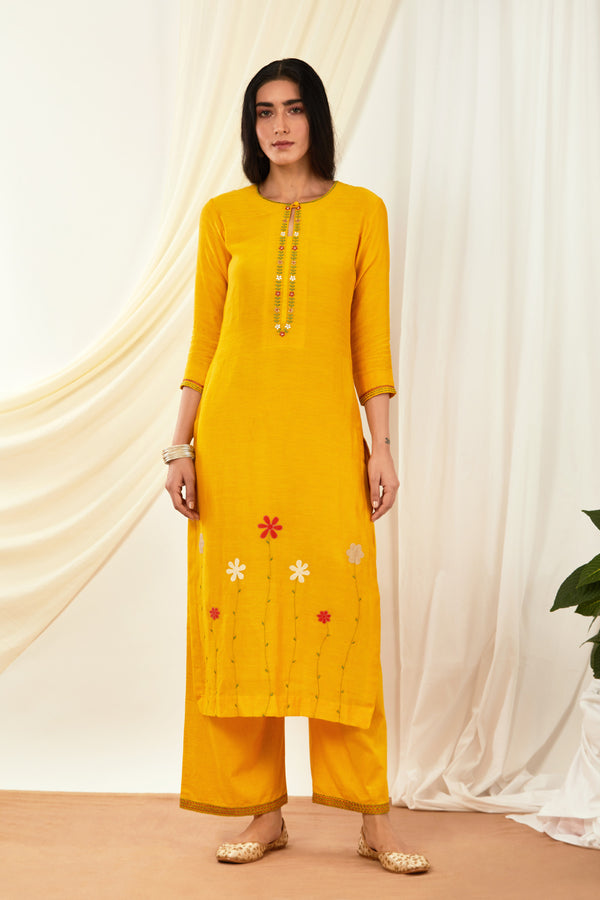 Mustard Embroidered Cotton Palazzo