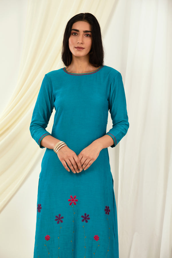 Turquoise Blue Floral Embroidered Kurta & Palazzo (Set of 2)
