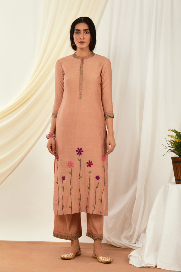 Burnt Pink Floral Embroidered Kurta & Palazzo (Set of 2)