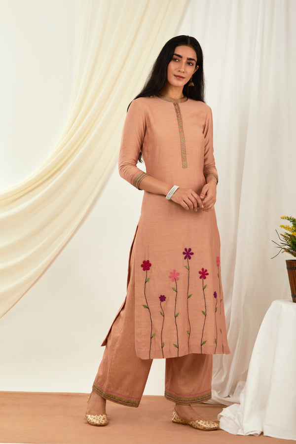 Burnt Pink Embroidered Cotton Palazzo