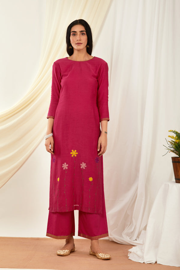 Rani Pink Embroidered Cotton Palazzo