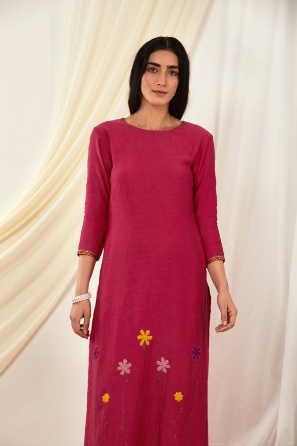 Rani Pink Floral Embroidered Kurta & Palazzo (Set of 2)