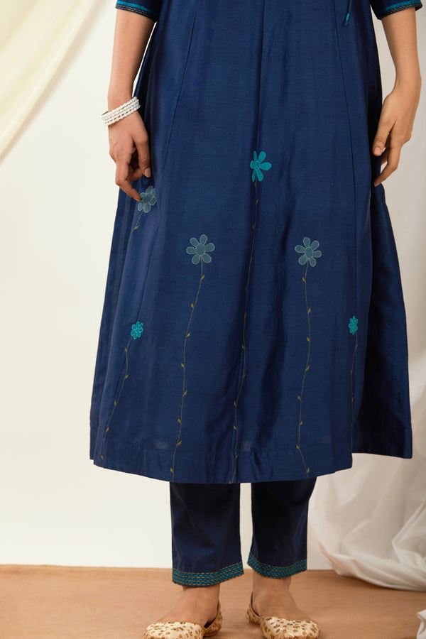 Navy Blue Embroidered Cotton Pant