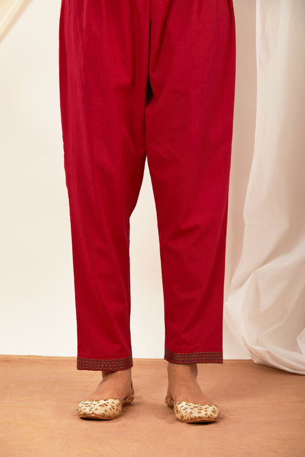 Red Embroidered Cotton Pant