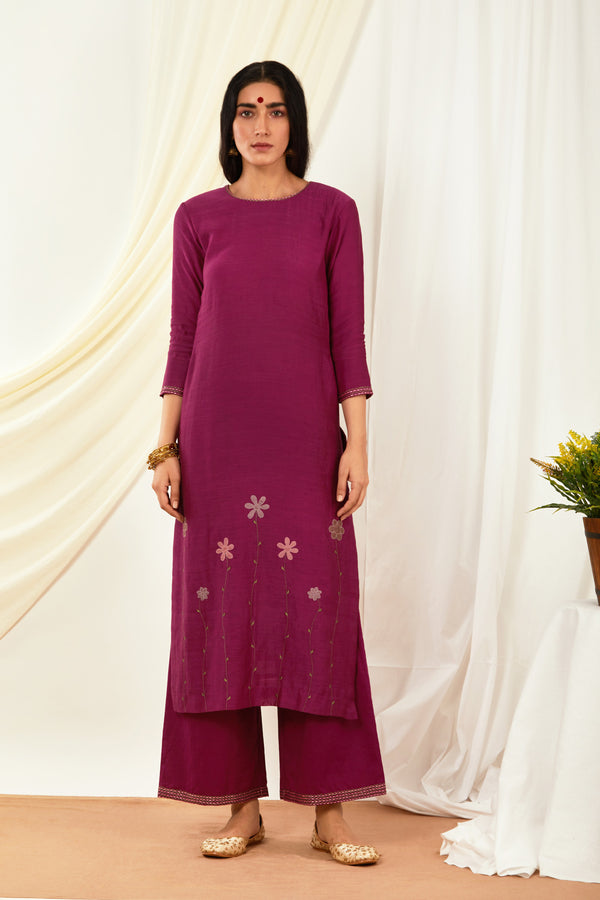 Burgundy Embroidered Cotton Palazzo