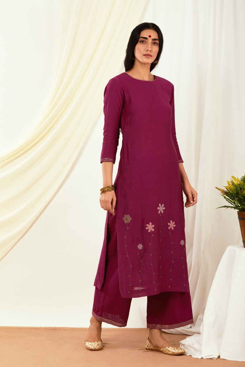 Burgundy Floral Embroidered Kurta & Palazzo (Set of 2)