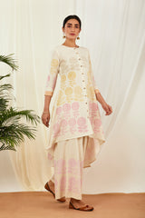 Ivory High-Low Handblock Printed Cotton Kurta