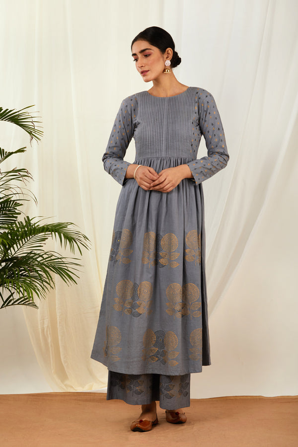Grey Pintucks Anarkali Cotton Dress