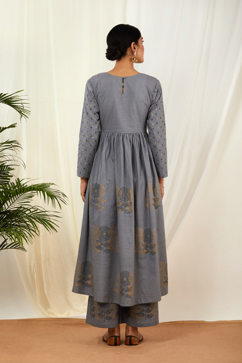 Grey Pintucks Anarkali & Palazzo (Set of 2)