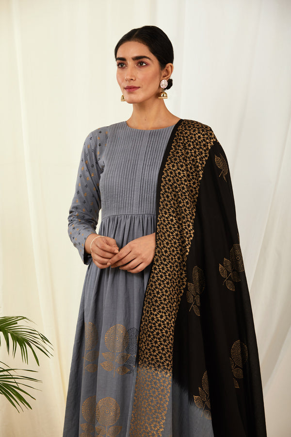 Grey-Black Shaded Handblock Printed Dupatta