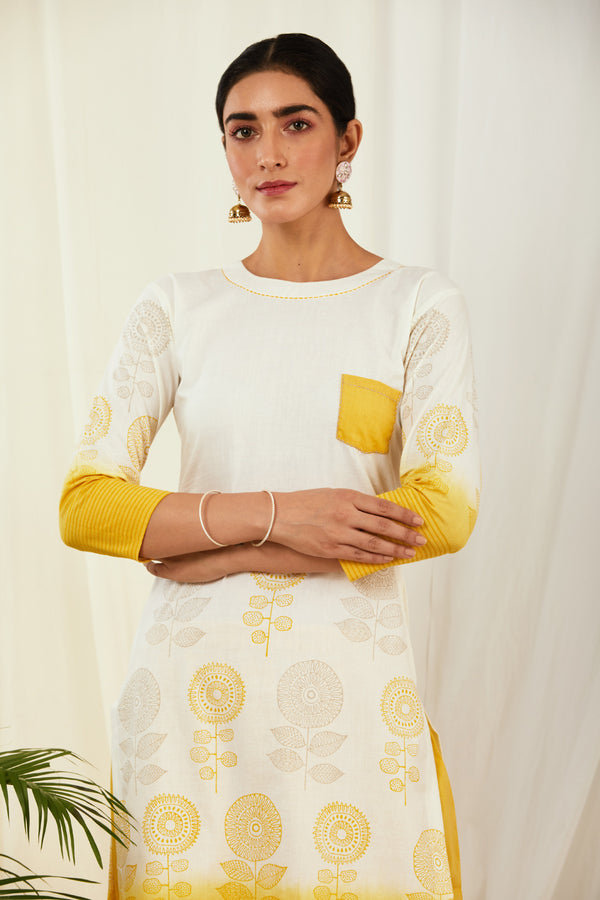 Ivory-Mustard Shaded Handblock Printed Cotton Kurta