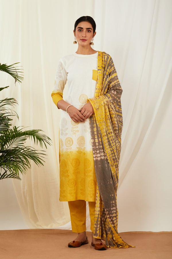 Ivory-Mustard Kurta Pant with Dupatta (Set of 3)