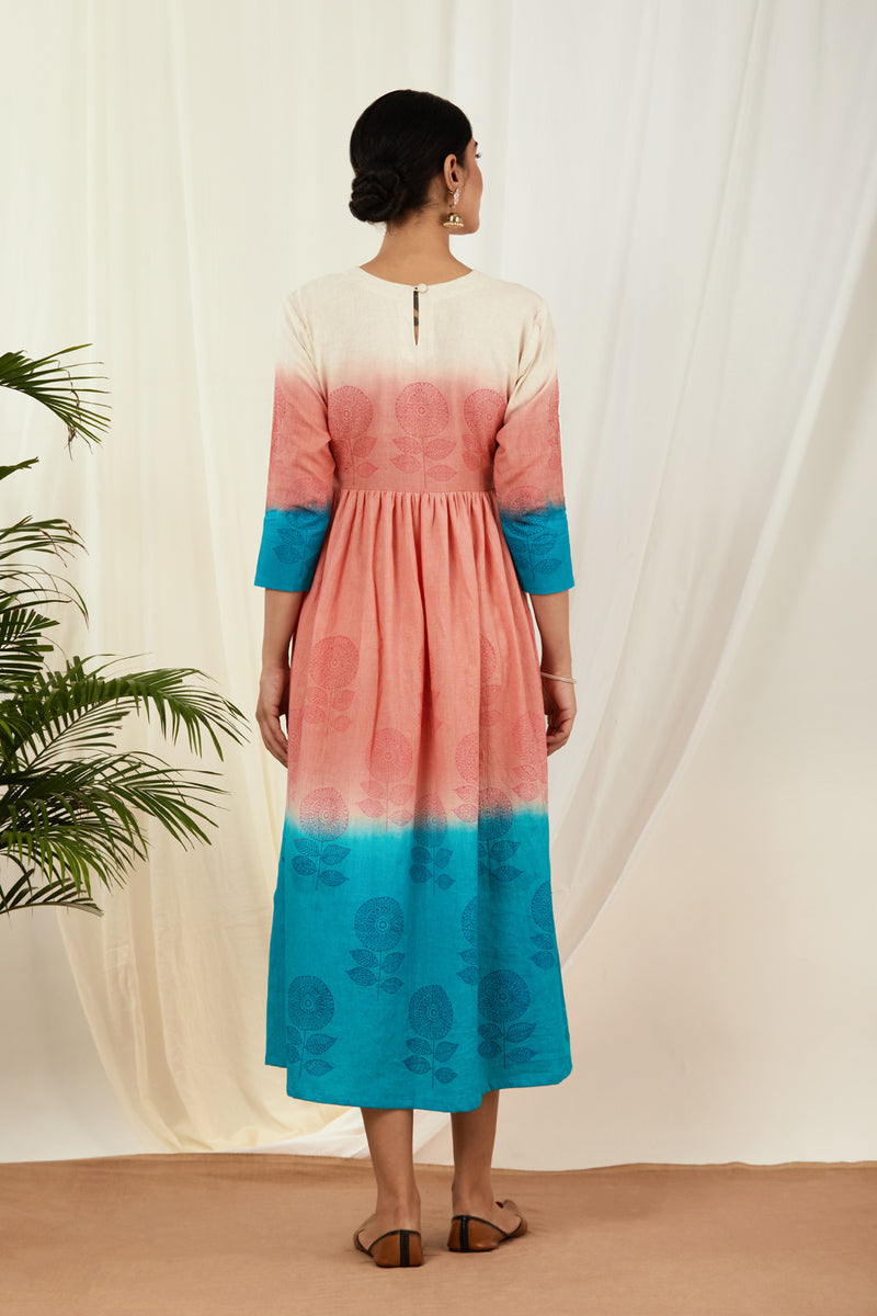 Baby Pink-Aqua Blue Shaded Handblock Printed Dress