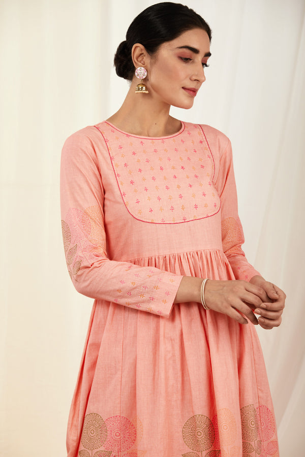 Baby Pink Handblock Printed Cotton Anarkali