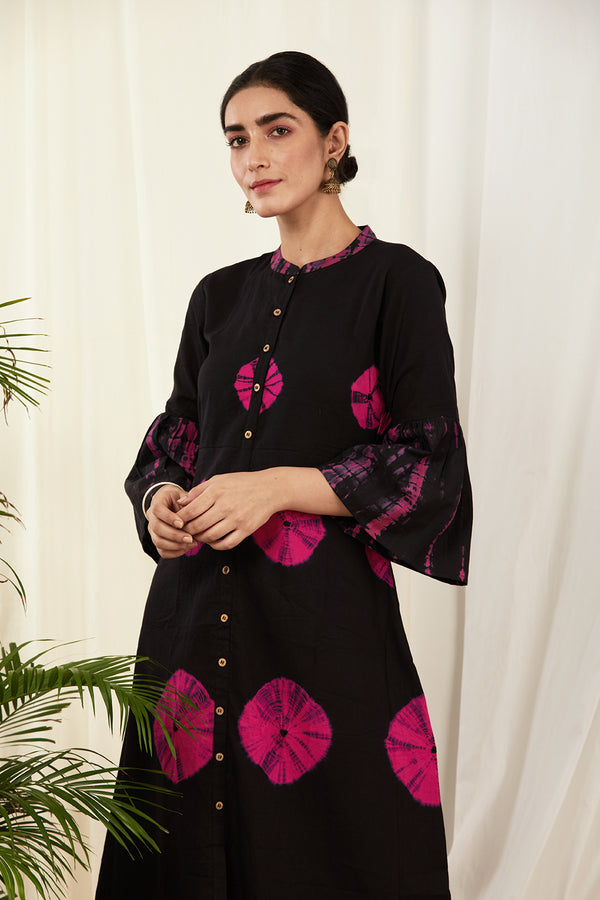 Black-Fuchsia Bandhej Cotton Dress
