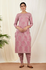 Lavender Kurta & Dhoti Pant Set with Pink Dupatta (Set of 3)