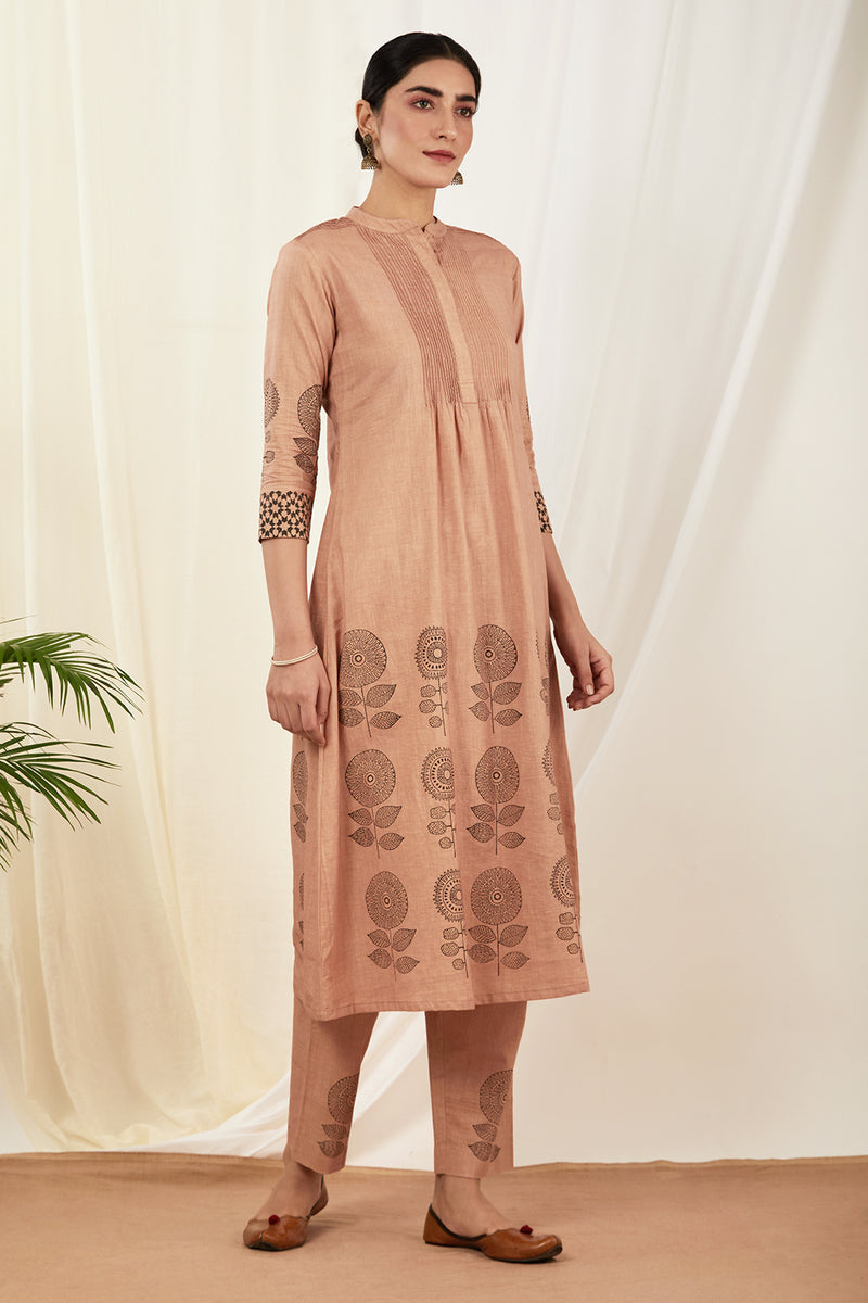 Burnt Pink Pintucks Kurta Set with Dupatta (Set of 3)
