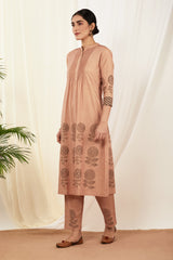 Burnt Pink Pintucks Cotton Kurta